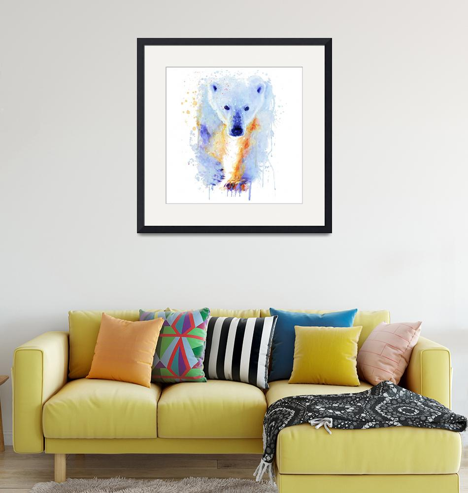 """Polar Bear Watercolor Painting""  (2019) by MarianVoicu"