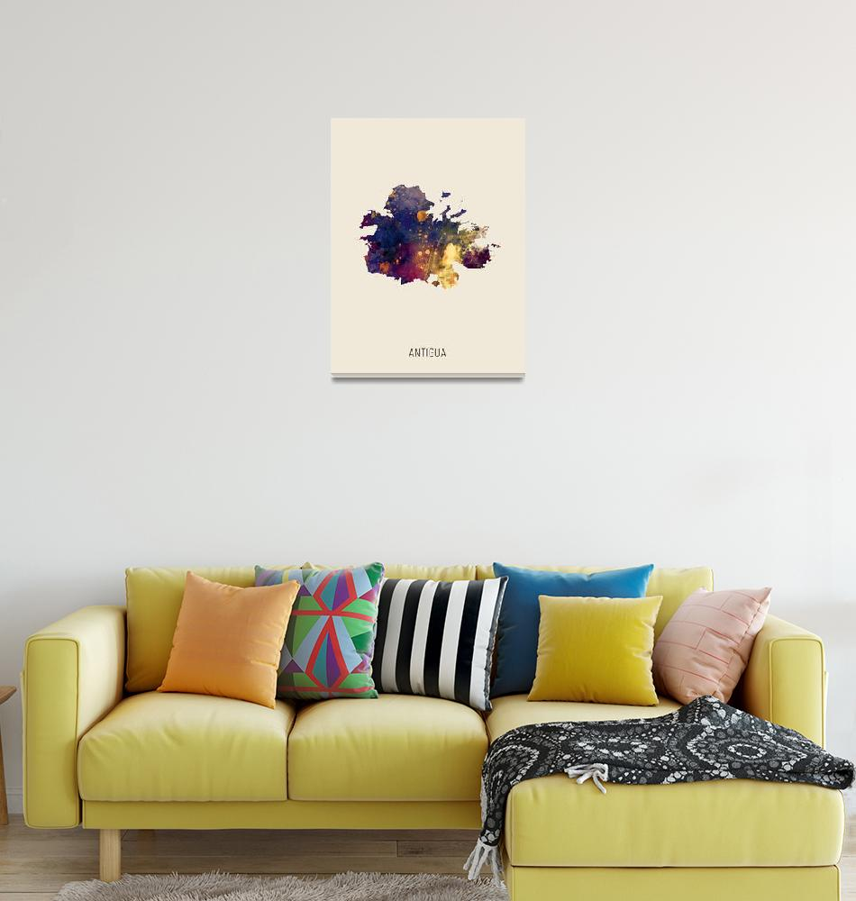 """Antigua Watercolor Map""  (2019) by ModernArtPrints"