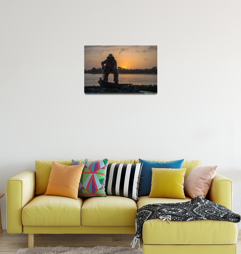 """Lone Fisherman Sunset""  (2015) by goatlockerguns"