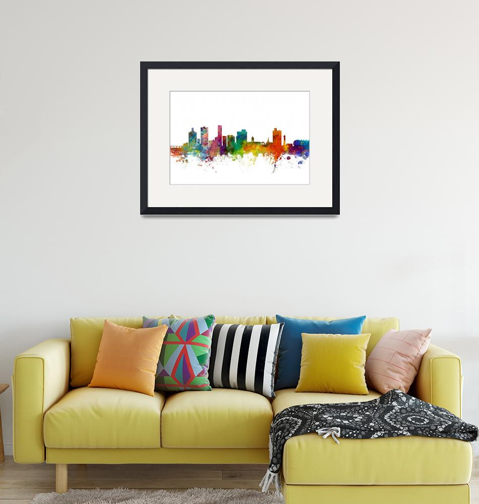 """Port Elizabeth South Africa Skyline""  (2015) by ModernArtPrints"