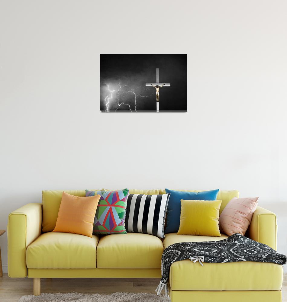 """""""Good Friday - Crucifixion of Jesus BW Color""""  (2012) by lightningman"""