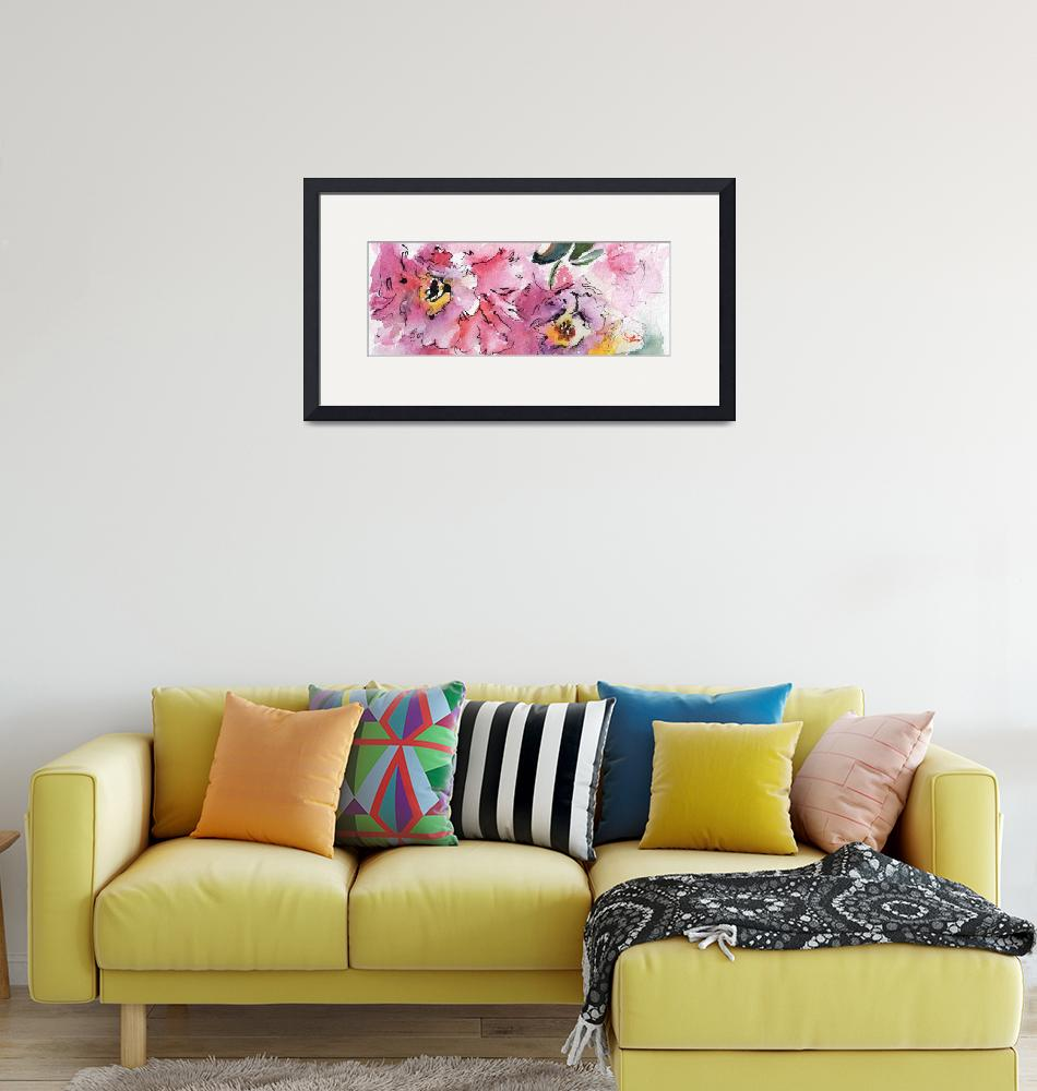 """Modern Floral Landscape Pink Camellia""  (2016) by GinetteCallaway"