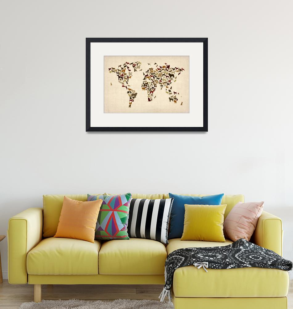 """Dogs Map of the World Map"" (2014) by ModernArtPrints"