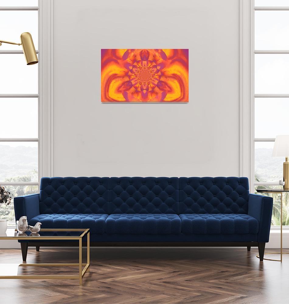 """""""Lotus in Orange  and Yellow Satin""""  by Atlantis-Seeker-Art"""