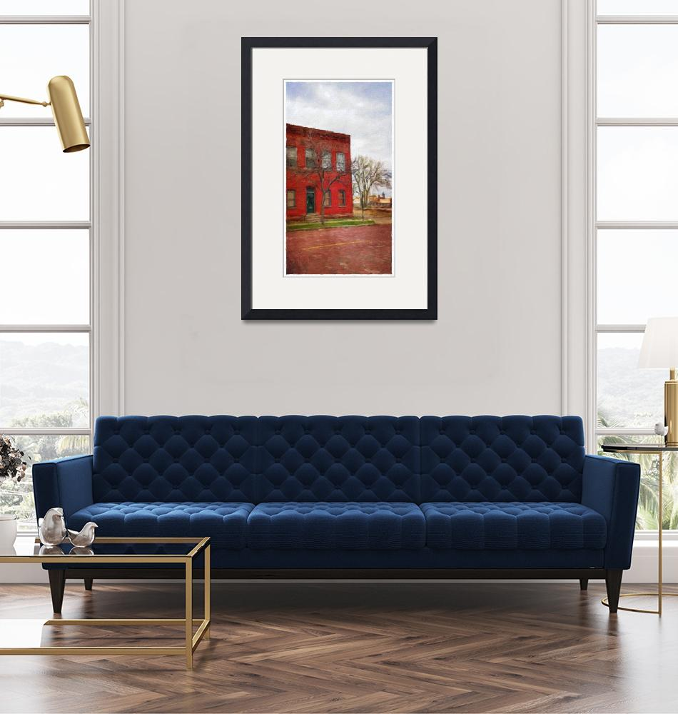 """""""Old Red Brick Building/blue sky""""  (2015) by Artbeewe"""