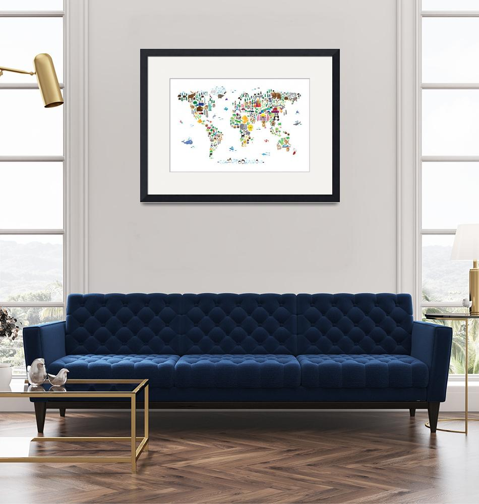 """Animal Map of the World for children and kids""  (2013) by ModernArtPrints"