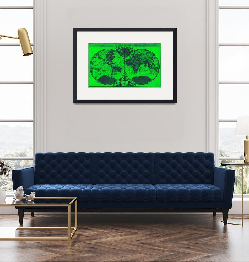 """""""World Map (1691) Green & Blue"""" by Alleycatshirts"""