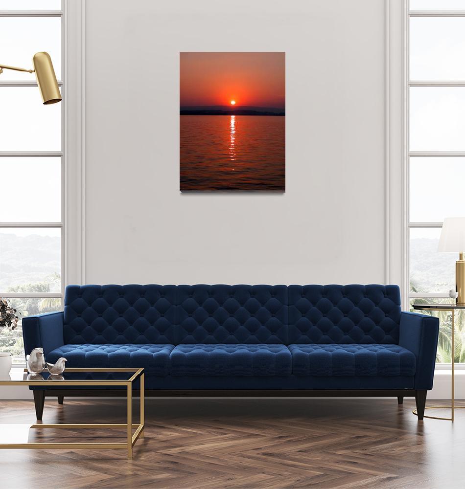 """Sundown at the lake of Zug, Switzerland""  (2010) by baechlergallery"