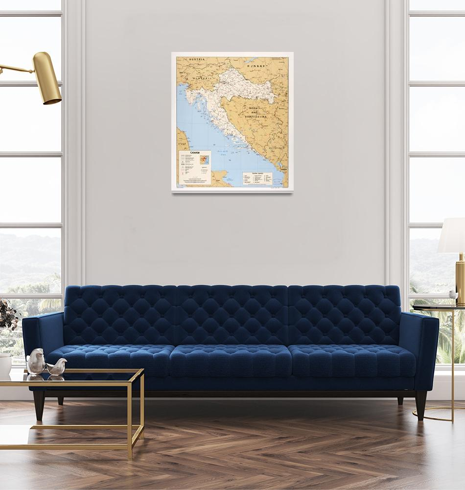 """Map of Croatia (1995)""  (1995) by ArtHistory"