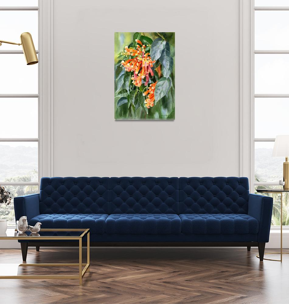 """""""Orange Trumpet Flame Vine with Background""""  (2018) by Pacific-NW-Watercolors"""
