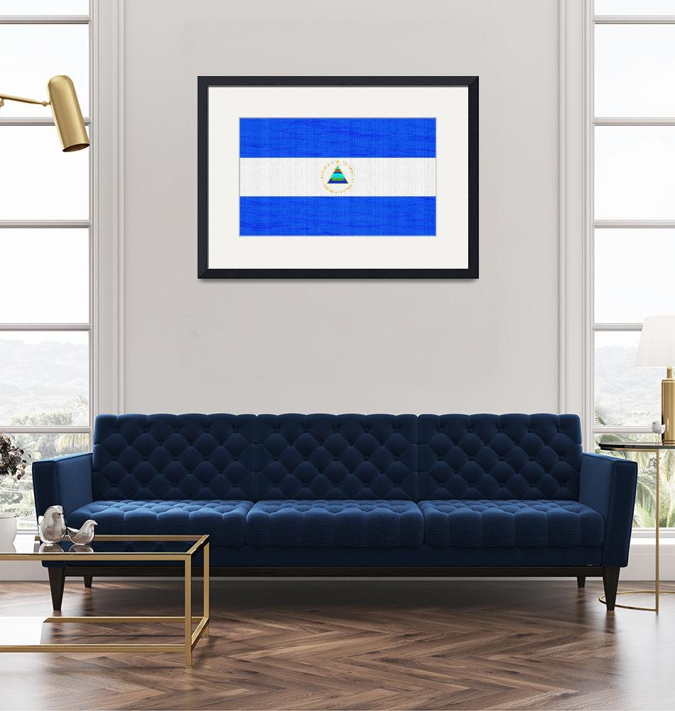 """""""Flag of Nicaragua ,  County Flag Painting ca 2020""""  by motionage"""