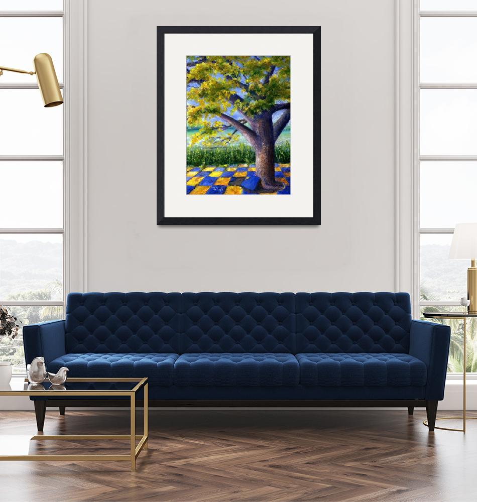 """""""Tree in Yellow and Blue Surroundings""""  (2006) by Lenora"""