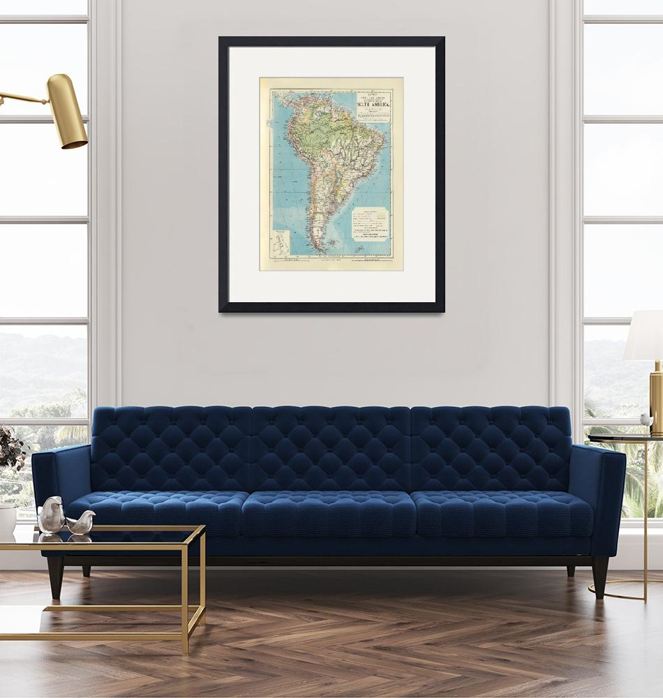 """""""Old South America Map (1883) Vintage Southern Amer""""  by Alleycatshirts"""