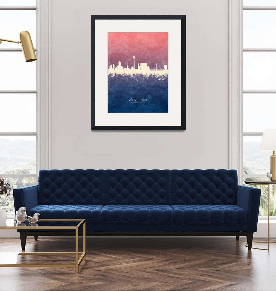 """Düsseldorf Germany Skyline""  (2019) by ModernArtPrints"