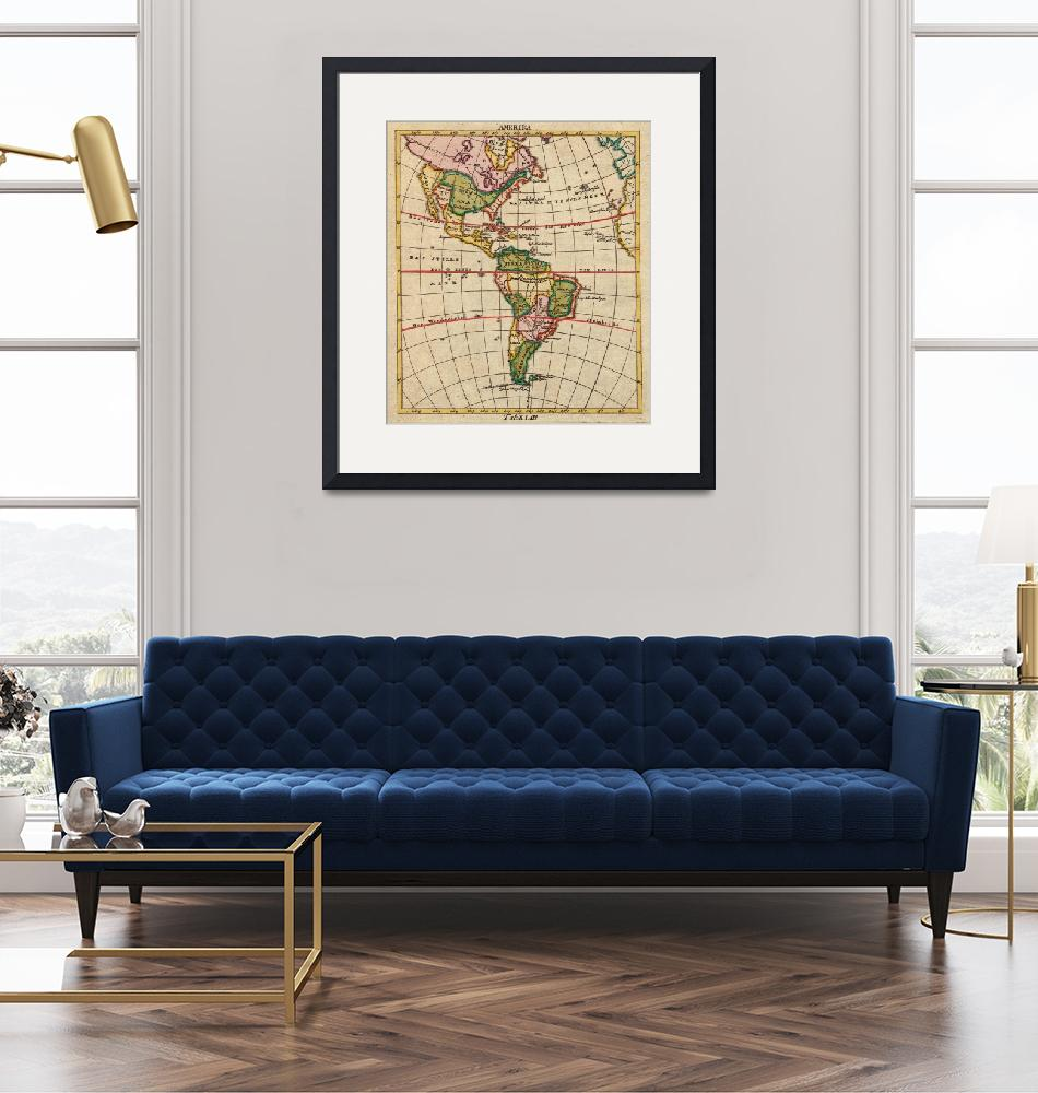 """Vintage Map of North & South America (1899)""  by Alleycatshirts"