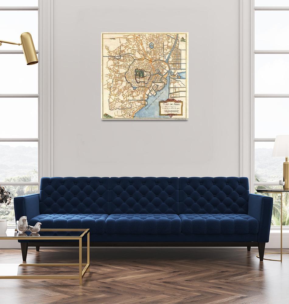 """Vintage Map of Tokyo Japan (1752)""  by Alleycatshirts"