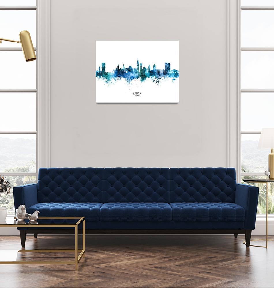 """Zadar Croatia Skyline""  (2020) by ModernArtPrints"