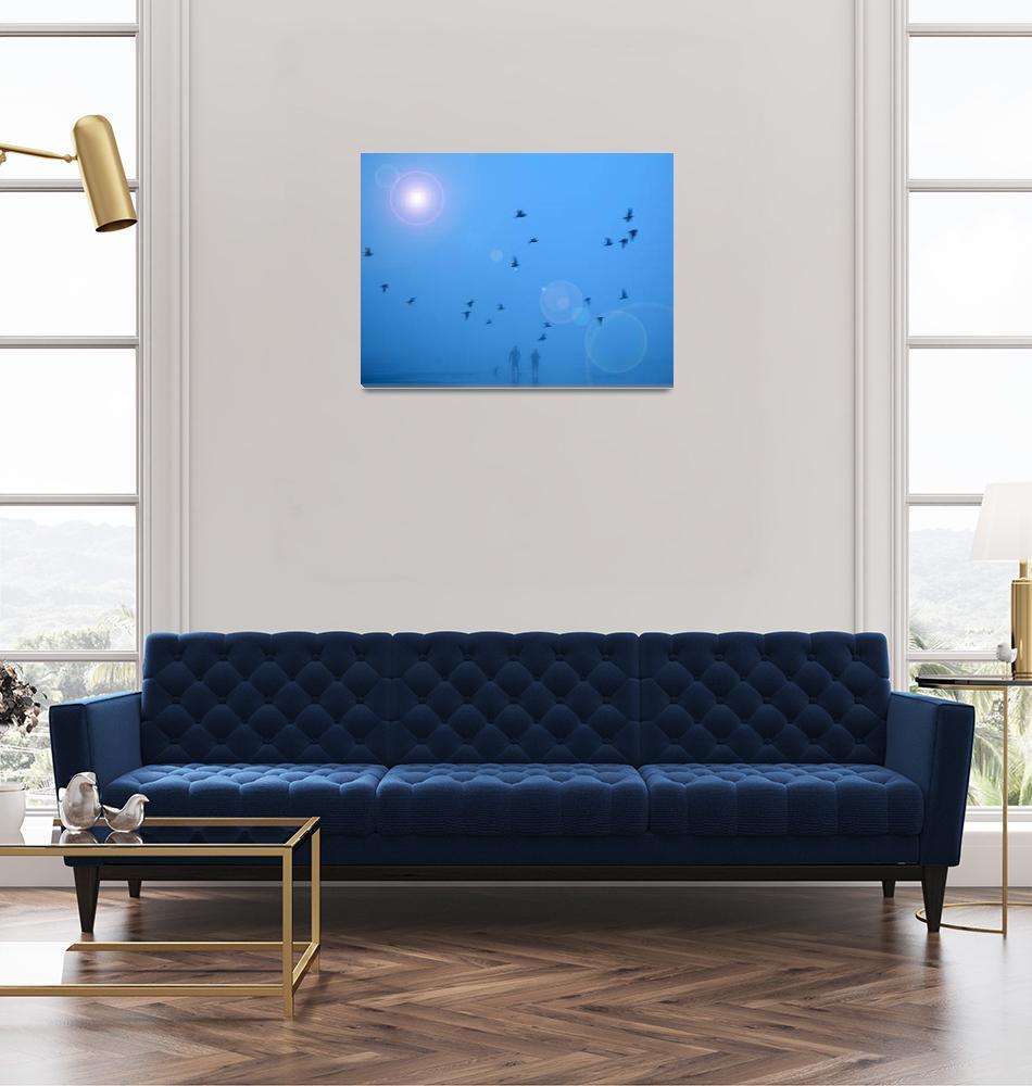 """Ocean Blue Couple & Birds""  (2008) by worddust"