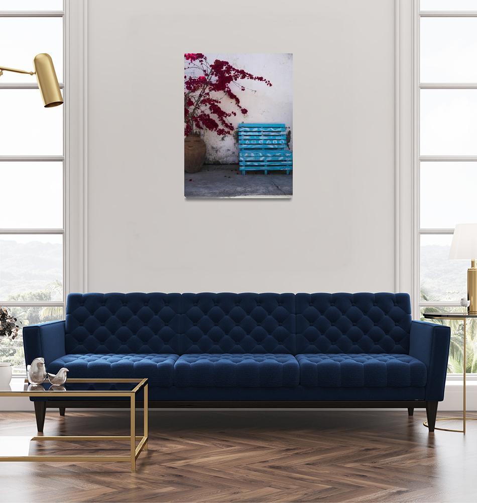 """Blue Bench in Larnaca""  (2018) by raetucker"