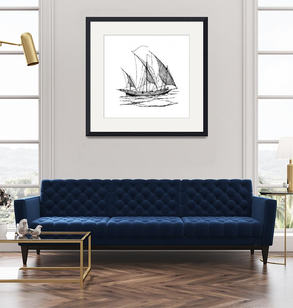 """""""Sailing ship drawing graphics""""  (2020) by Radiant"""