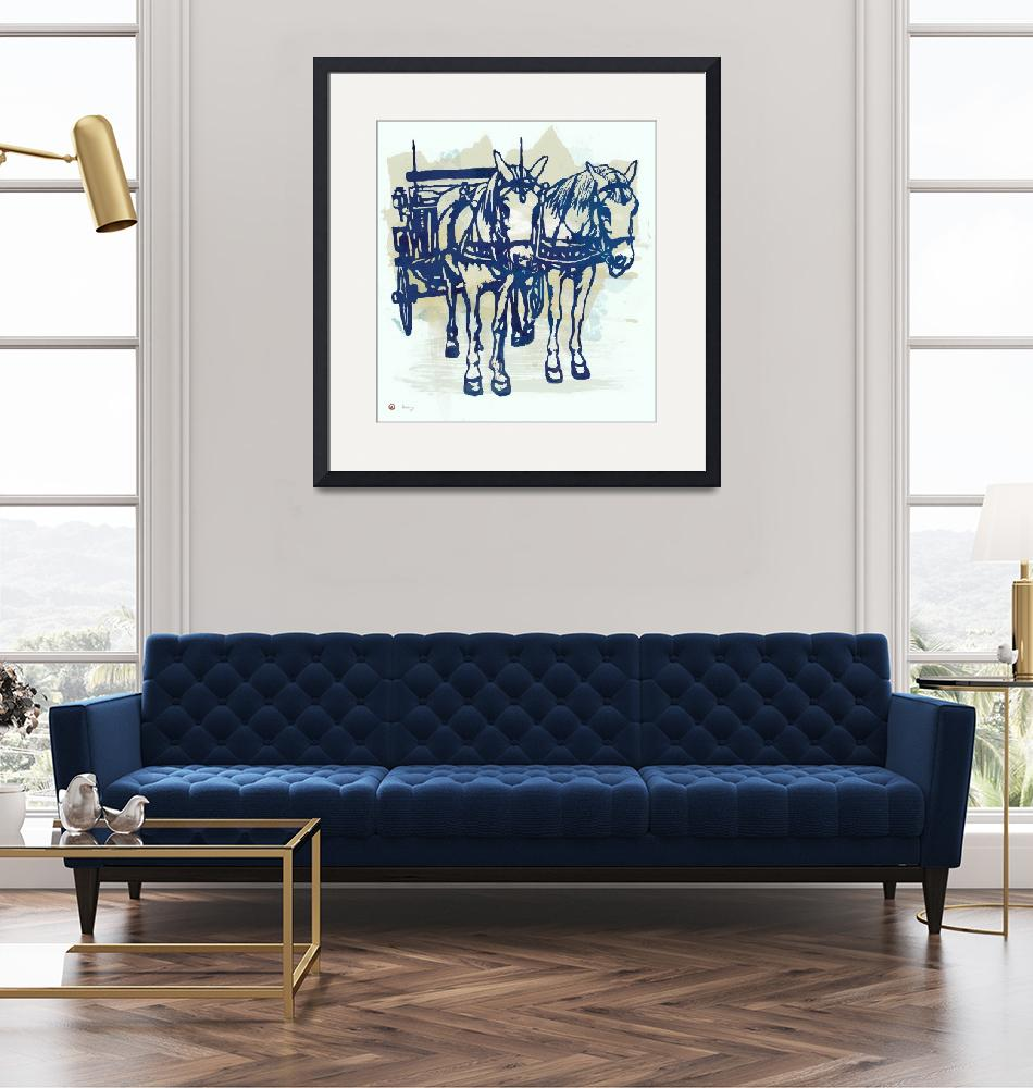 """Horse Carriage - Stylised Pop Modern Etching Art P""  (2015) by visualharbour"