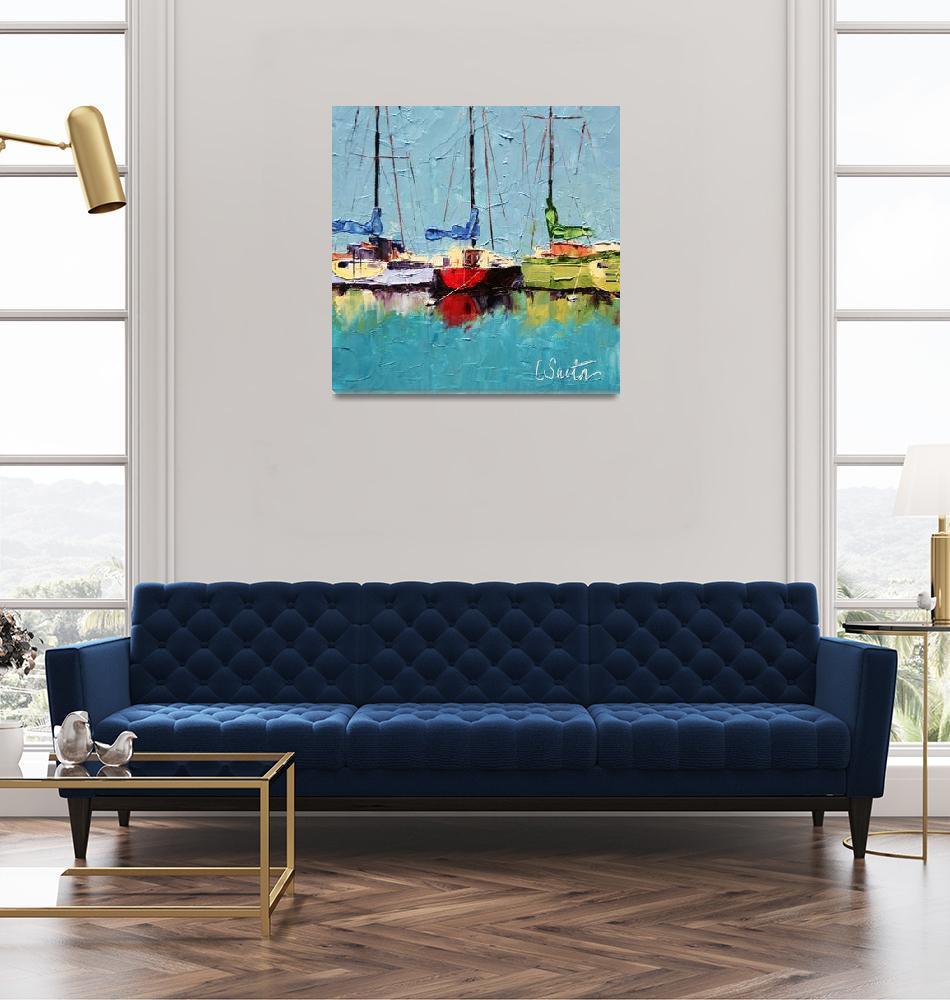 """Boats at Hvar""  (2009) by LeslieSaetaFineArt"
