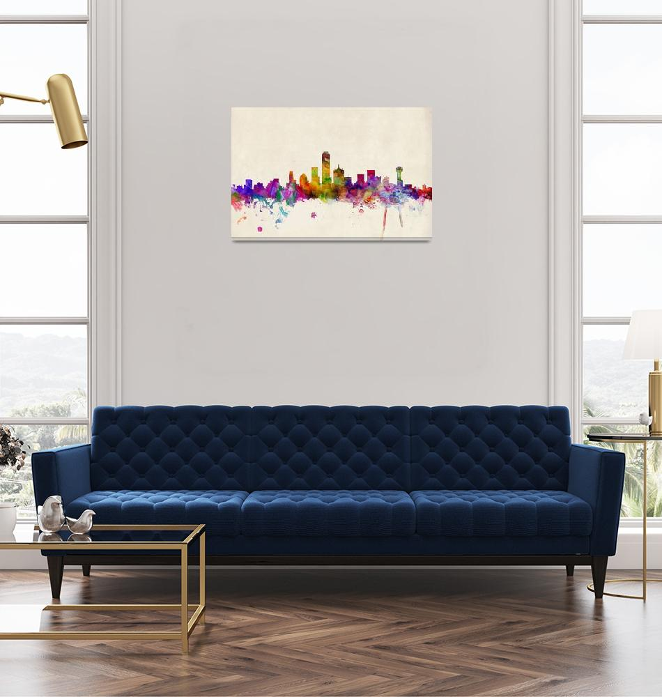 """Dallas Texas Skyline""  (2013) by ModernArtPrints"