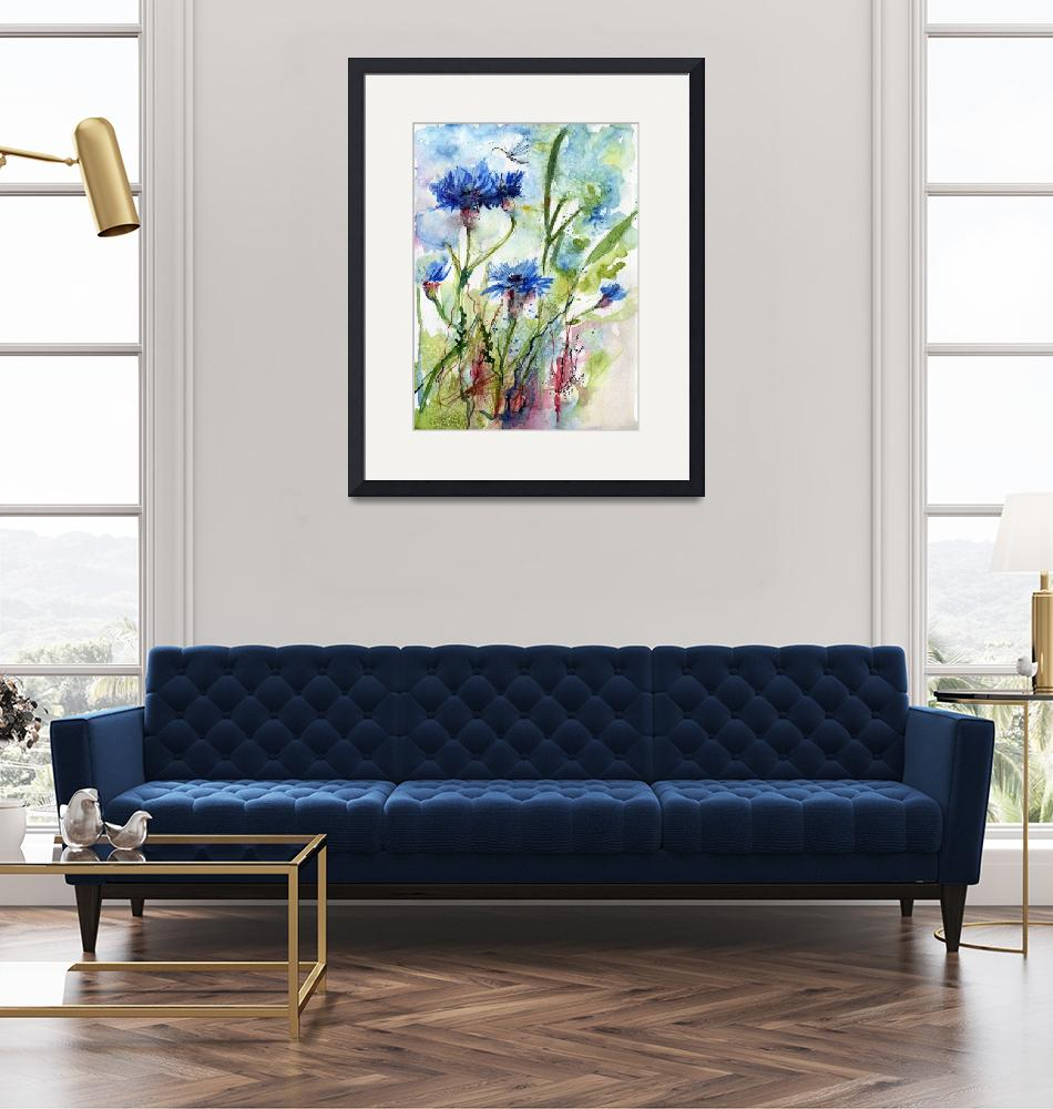 """""""Cornflowers Wildflower Watercolor by Ginette""""  (2011) by GinetteCallaway"""