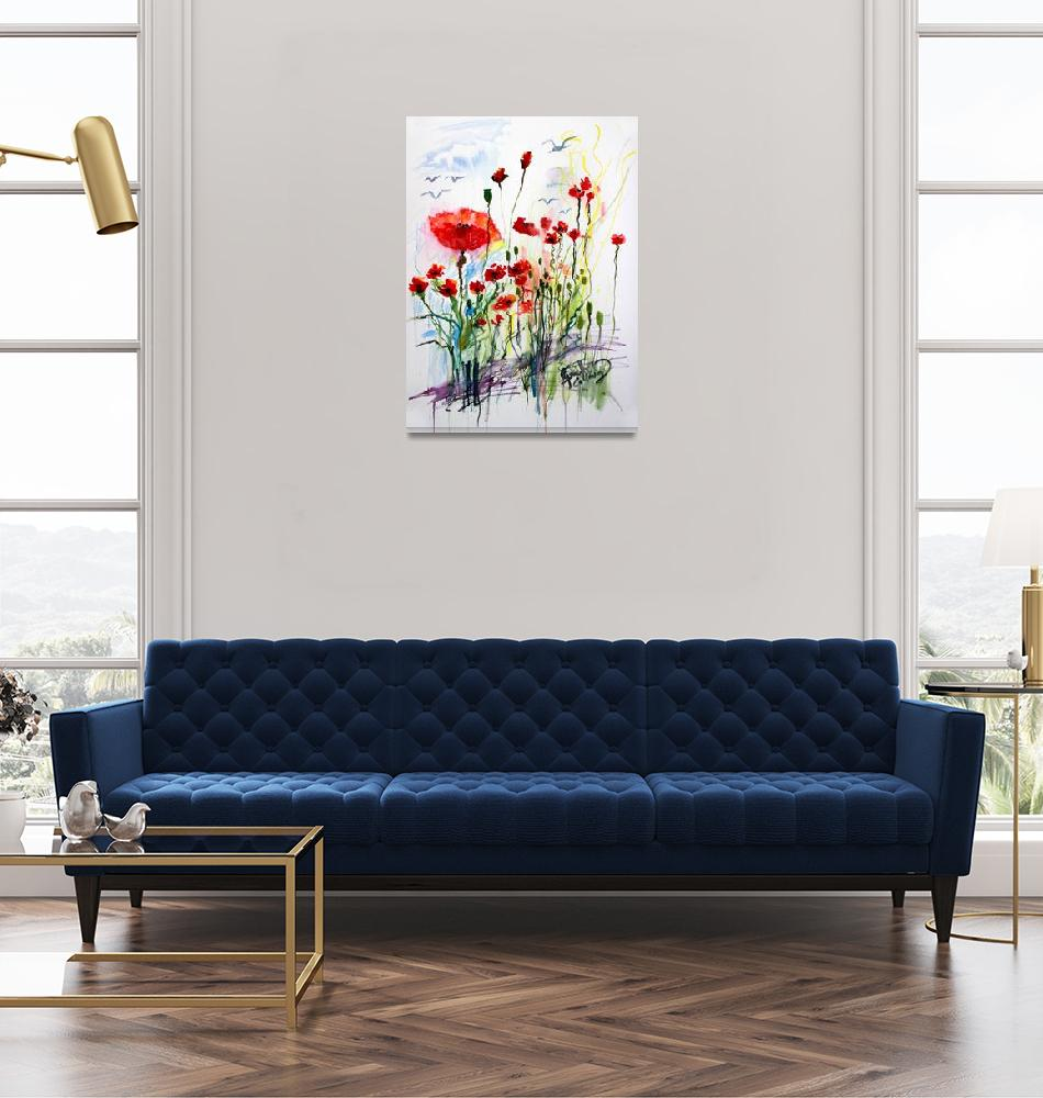 """""""Tall Red Poppies Flower Field""""  (2015) by GinetteCallaway"""