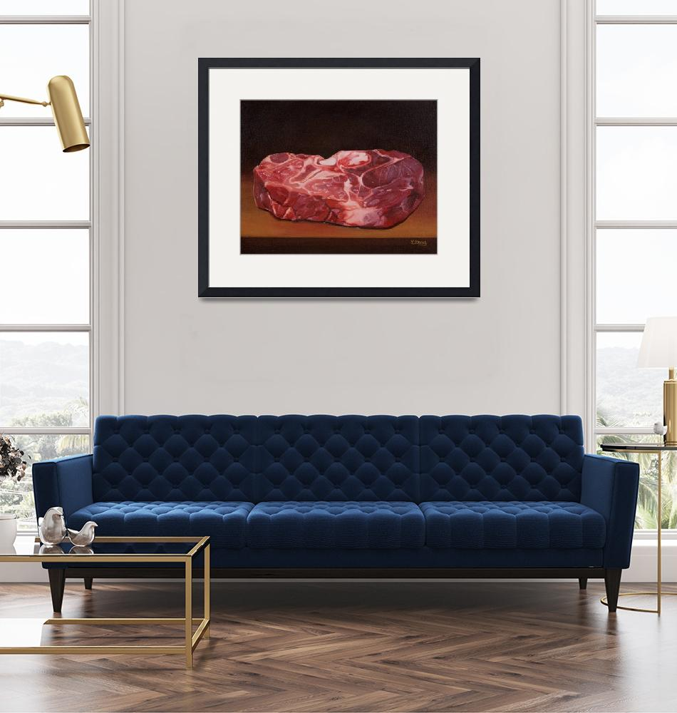 """""""Raw steak oil painting""""  by yuezeng"""