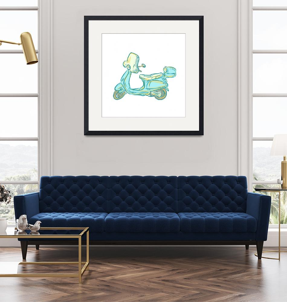 """""""Vintage Scooter Etching""""  (2015) by patrimonio"""