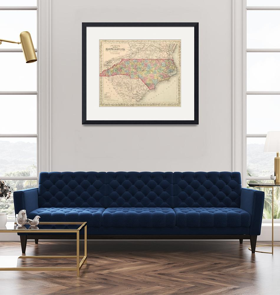 """Vintage Map of North Carolina (1859)"" by Alleycatshirts"