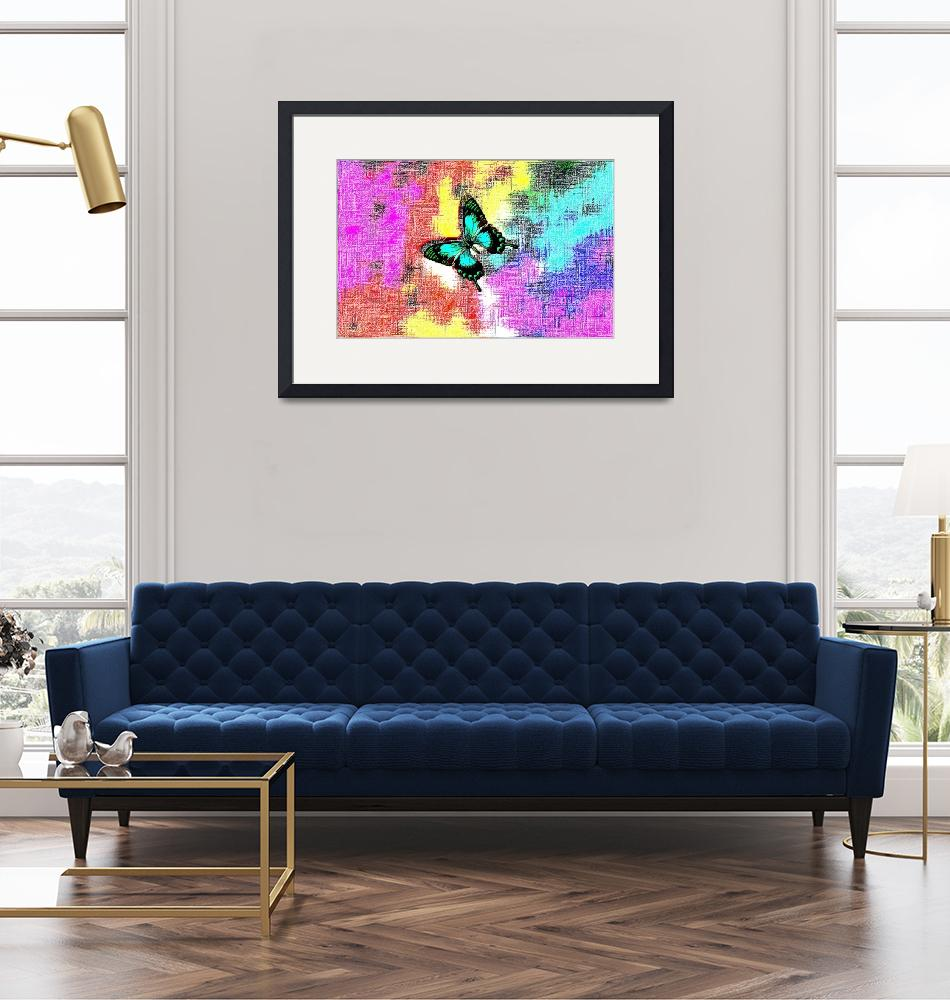 """""""Aqua Black Butterfly On Colorful Abstract""""  (2013) by TheNorthernTerritory"""