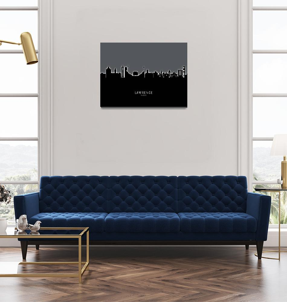 """Lawrence Kansas Skyline""  (2019) by ModernArtPrints"
