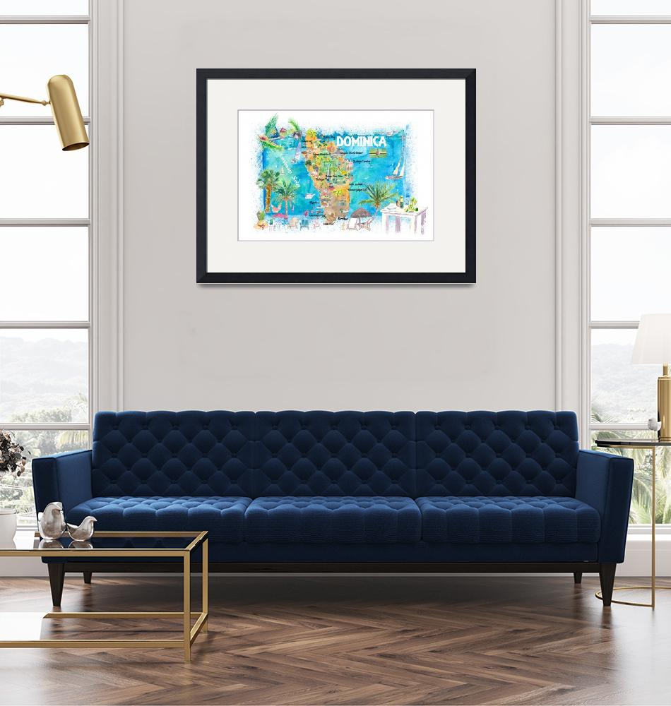"""""""Dominica Antilles Illustrated Travel Map with Road""""  (2021) by arthop77"""