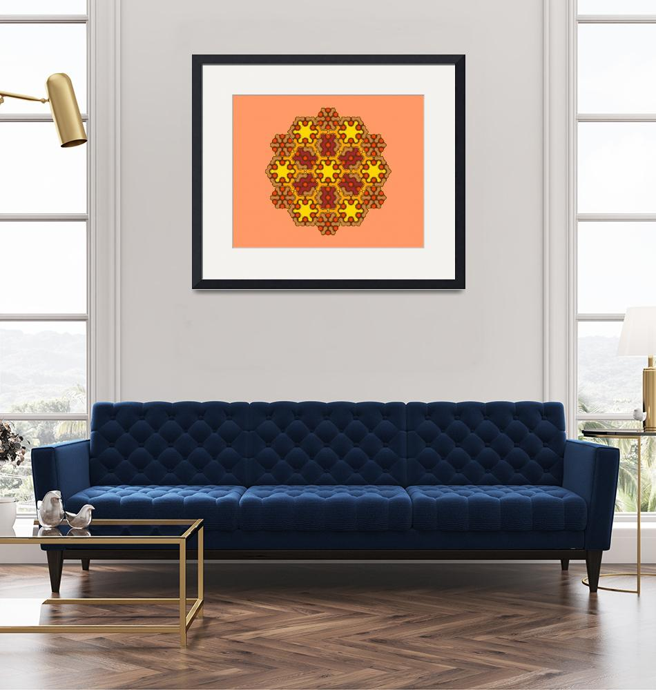 """Brown Hexagonal Mandala""  by mlconnolly"