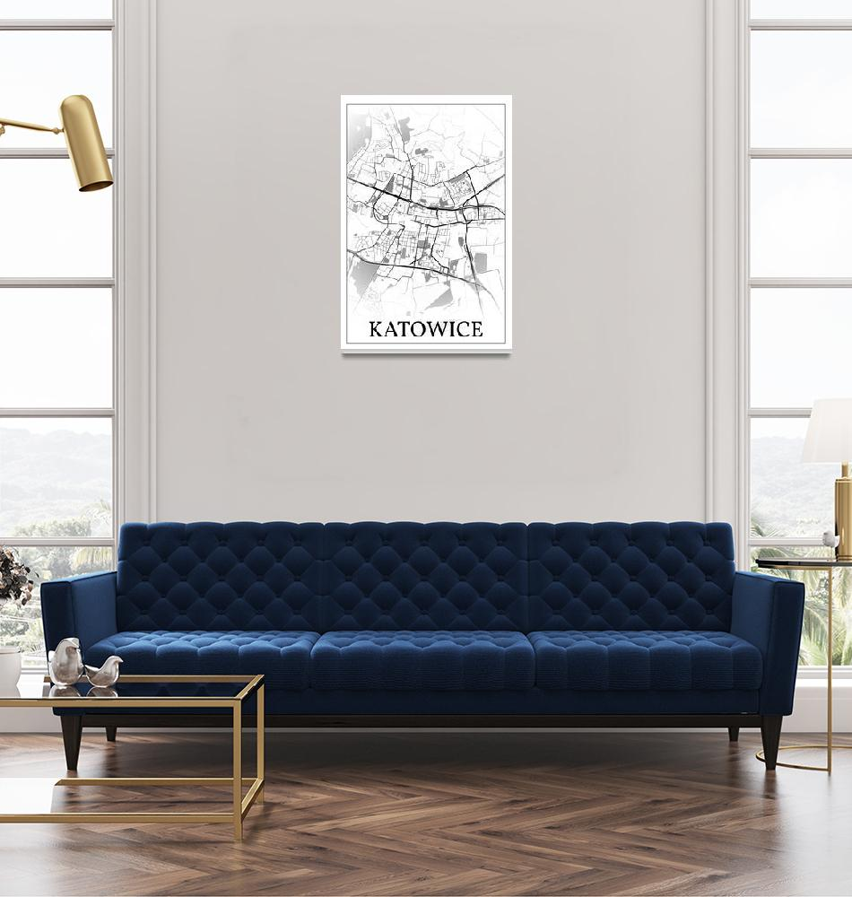 """Katowice, Poland, city map print.""  by dandistudio"