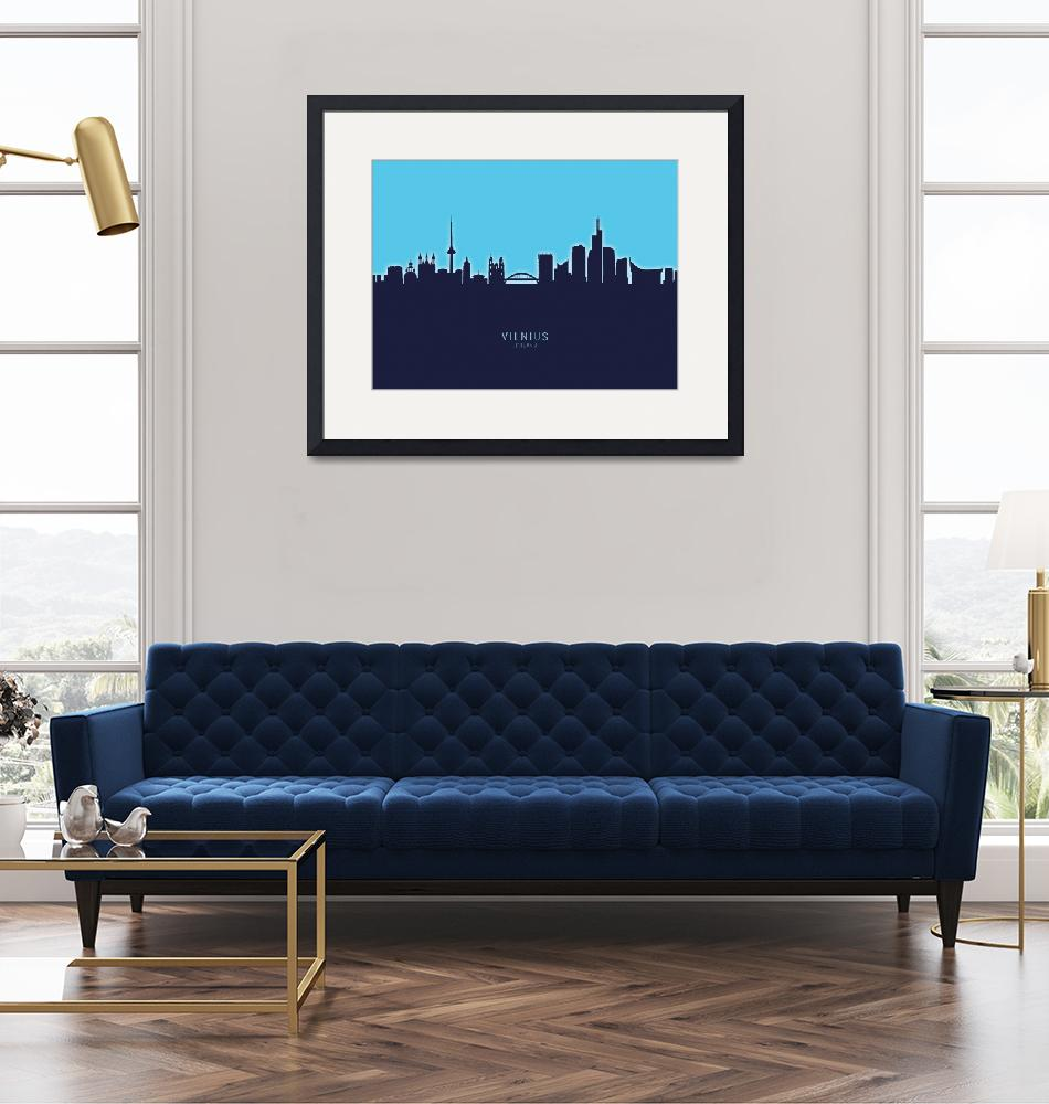 """Vilnius Lithuania Skyline""  (2020) by ModernArtPrints"