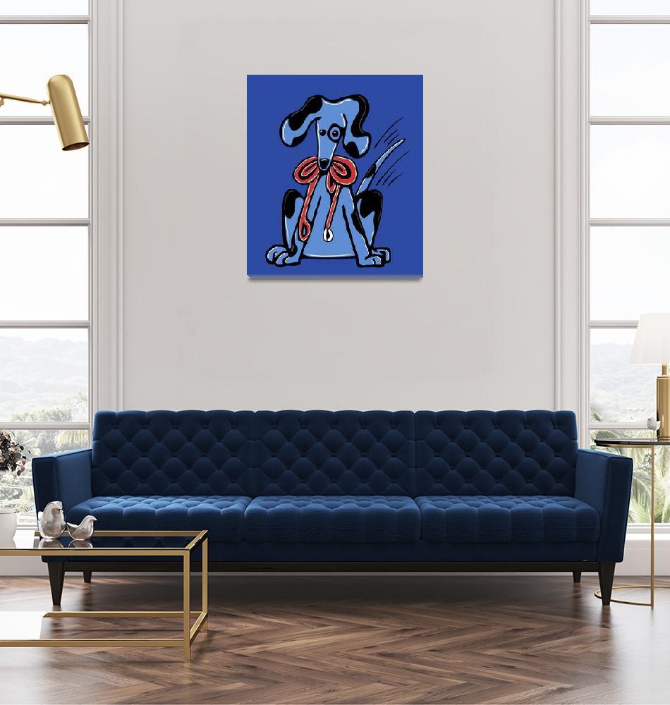 """Walk Me ... Whimsical Blue Dog""  (2008) by kristensteinfineart"