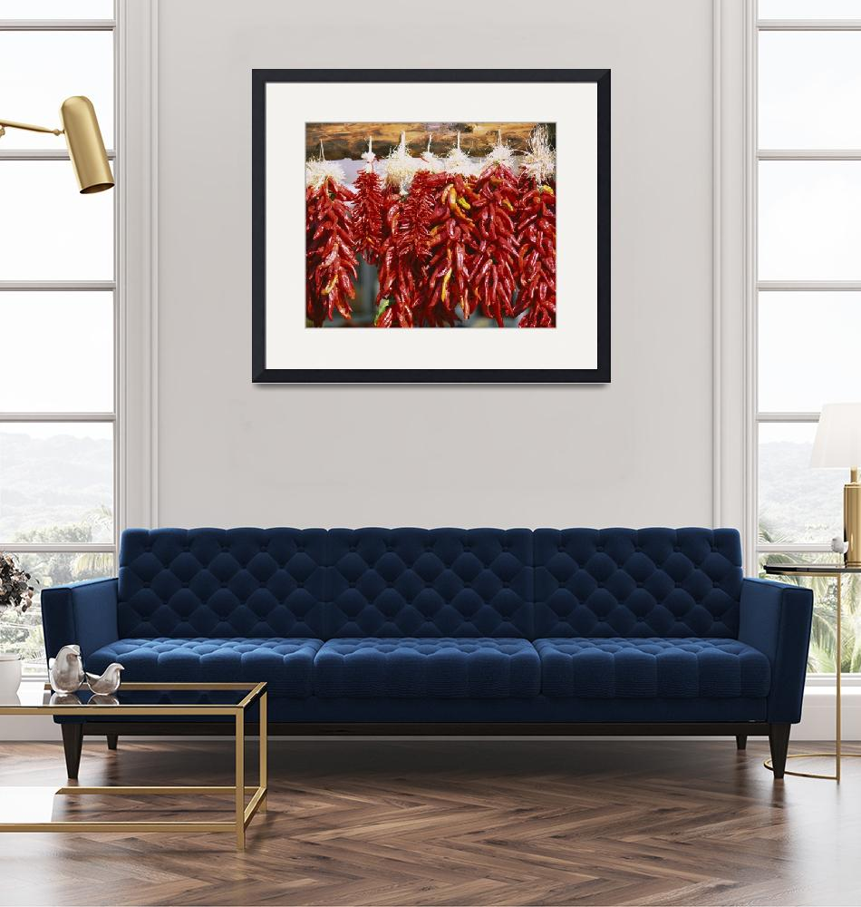 """""""Red chili peppers hanging on a log""""  by Panoramic_Images"""