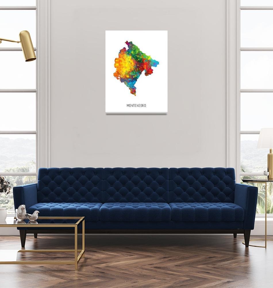 """Montenegro Watercolor Map""  (2019) by ModernArtPrints"