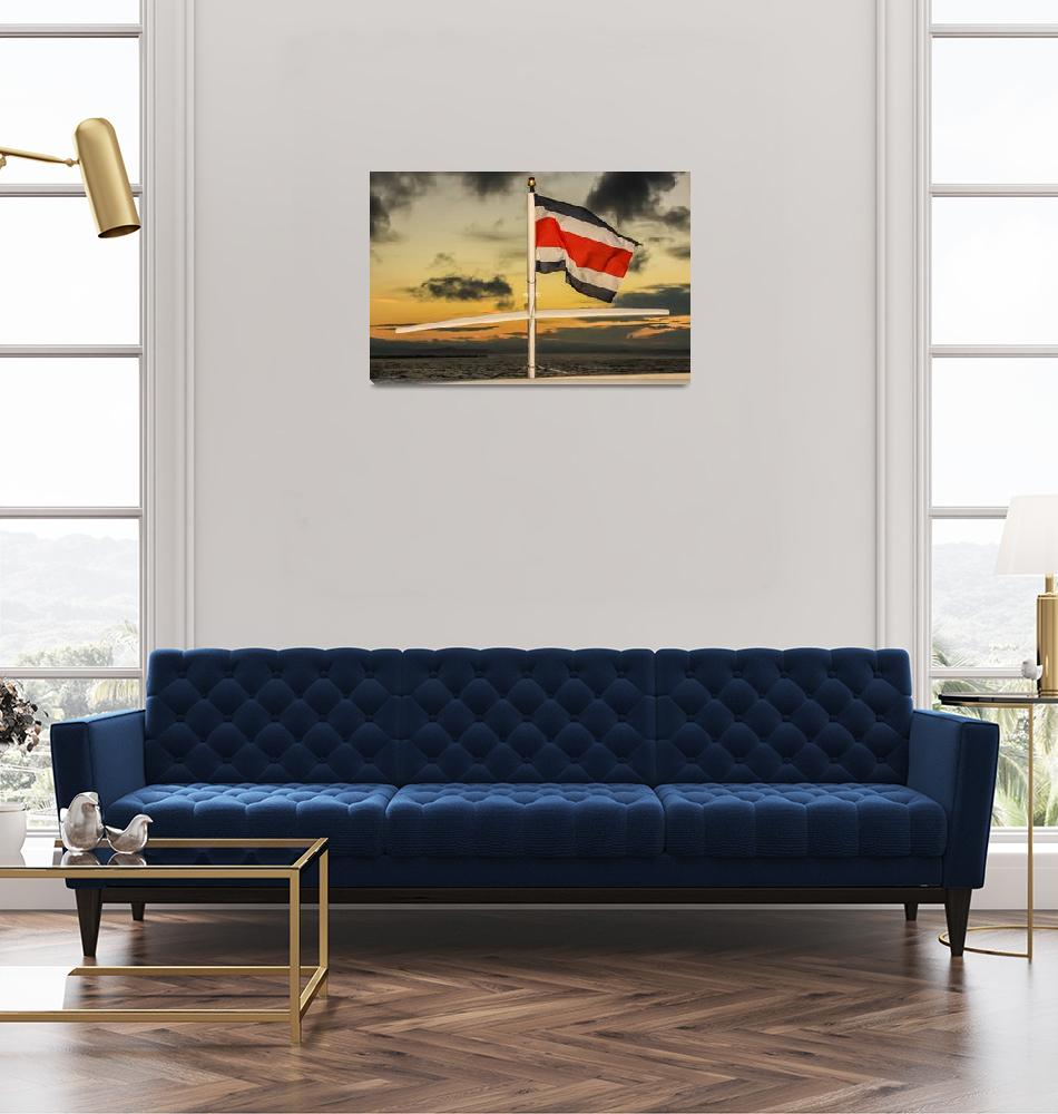 """""""the Costa Rica flag on a boat""""  (2011) by puravidaviews"""