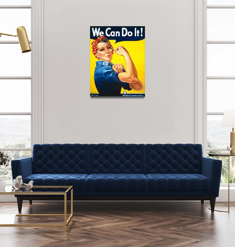"""""""We Can Do It Rosie the Riveter Vintage Poster""""  by FineArtClassics"""