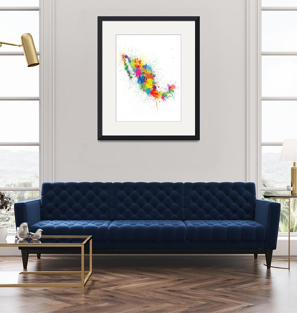"""Mexico Paint Splashes Map""  (2018) by ModernArtPrints"