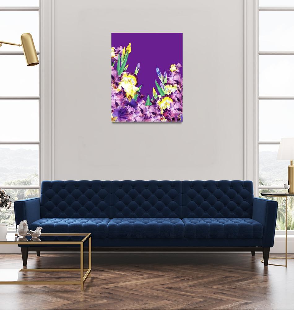 """Iris Flowers Purple Sky""  (2015) by IrinaSztukowski"