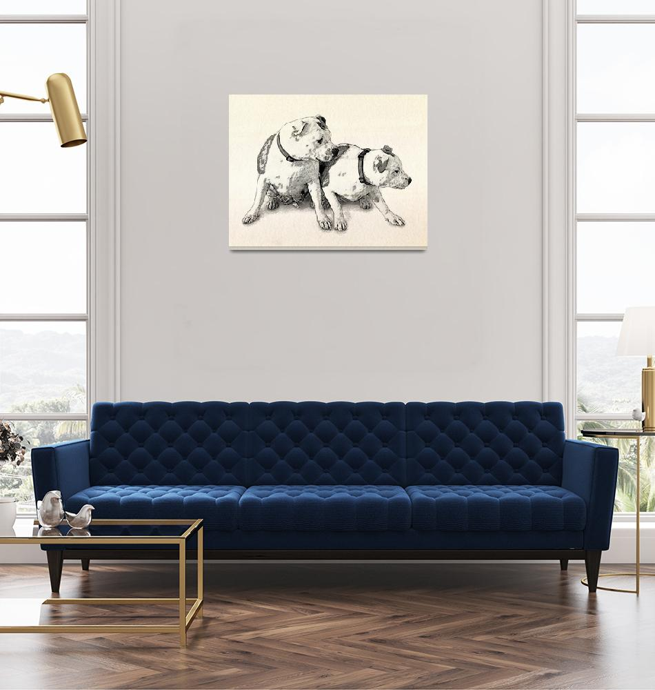 """Two Bull Terriers""  (2010) by ModernArtPrints"