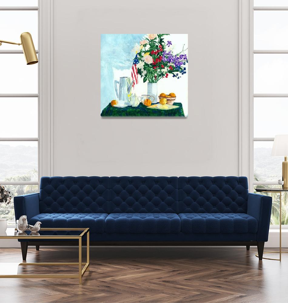 """""""Still Life With Flowers & Flag -Simple Pleasures""""  (2001) by MarkOdland"""