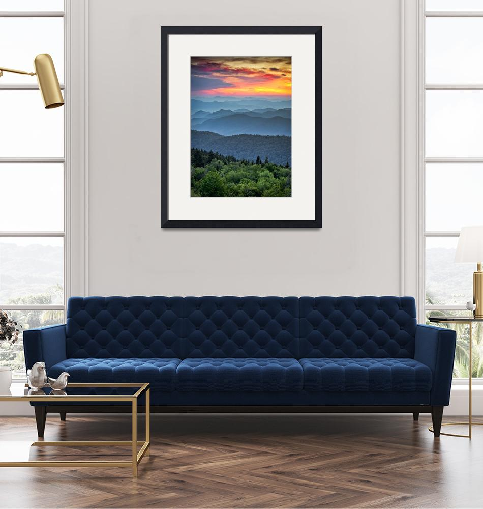 """Blue Ridge Parkway Sunset - The Great Blue Yonder"" (2011) by DAPhoto"