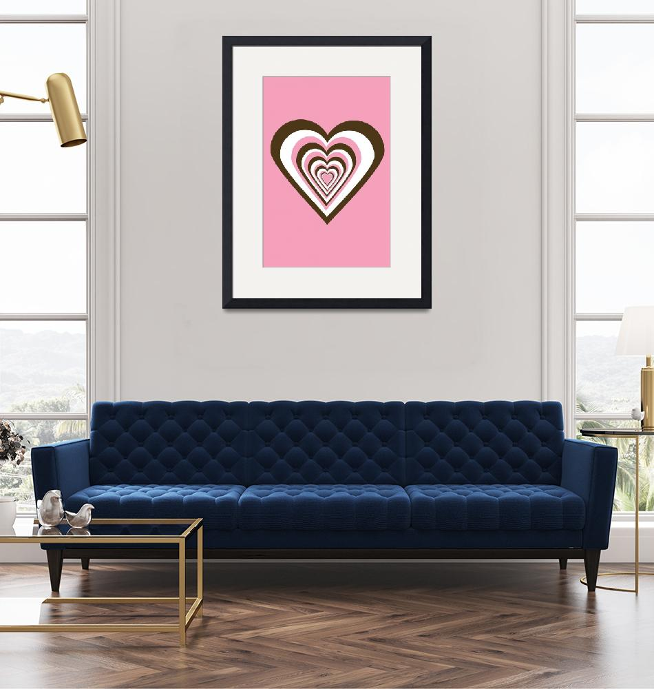 """""""Pink Brown and White Hearts""""  (2009) by ValeriesGallery"""