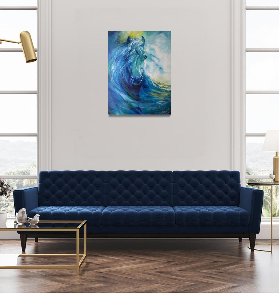 """BLUE GHOST OCEAN EQUINE""  (2013) by MBaldwinFineArt2006"